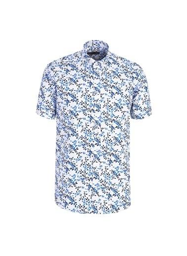 Kiğılı Kısa Kol Desenli Relax Fit Gömlek Beyaz
